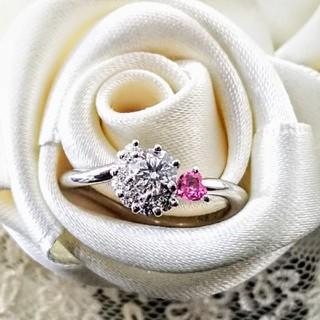 婚約☆キュートなPt950ダイヤリング0.318ct/F/VVS1/3EX 新品(リング(指輪))