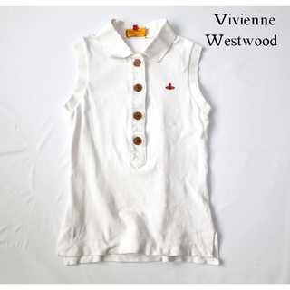 ヴィヴィアンウエストウッド(Vivienne Westwood)のヴィヴィアンウエストウッド★ワンポイントロゴ ノースリーブシャツ 2 白 日本製(ポロシャツ)
