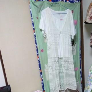 シマムラ(しまむら)の総レース白ロングカーデガン♪と袖が可愛いブラウス新品。(カーディガン)