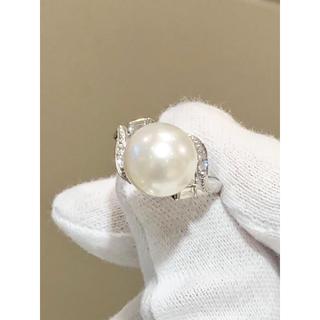 タサキ(TASAKI)の美品 TASAKI 大粒パール&ダイヤリング(リング(指輪))