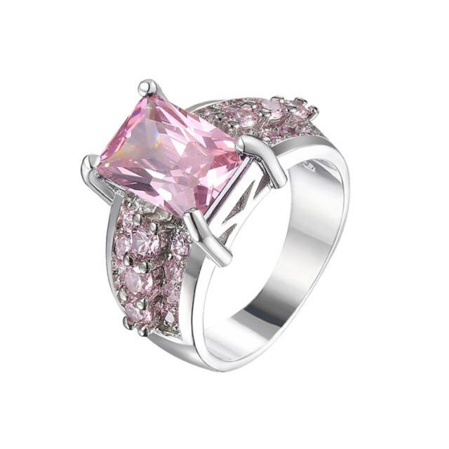 AAAランク ピンクトルマリン ダイヤモンドcz 15号 リング 指輪 レディースのアクセサリー(リング(指輪))の商品写真