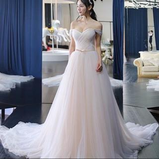 b7e5db0715a4e ウエディングドレス オフショルダー プリンセスライン ロングトレーン 結婚式 披(ウェディングドレス)