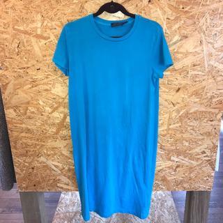 ラルフローレン(Ralph Lauren)のラルフローレン Tシャツ ワンピース 水色 半袖 袖にロゴ有(ミニワンピース)