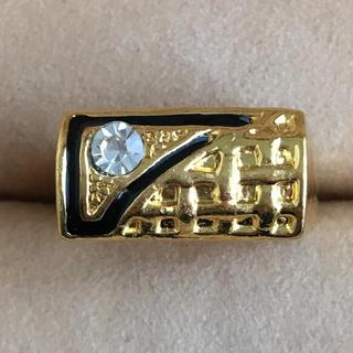 (100)一粒ビジューとブラックゴールドのリング ヴィンテージ(リング(指輪))