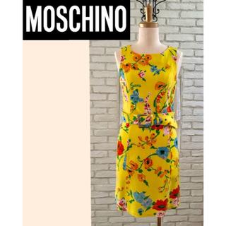 20c42088a3dd0 モスキーノ(MOSCHINO)のモスキーノ ワンピース 花柄 総柄 イエロー 黄色 ベルト カラフル イタリア