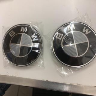 ビーエムダブリュー(BMW)のBMW ブラック/カーボン エンブレム 82ミリ 2個セット(車種別パーツ)
