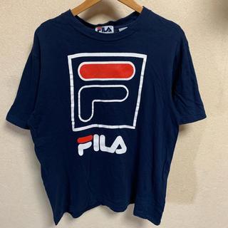 フィラ(FILA)の90s FILA 半袖 Tシャツ ロゴ 古着 ビンテージ 定番 ネイビー(Tシャツ/カットソー(半袖/袖なし))