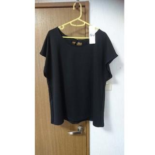 ジーユー(GU)のGU  デザイントップス  ブラック  新品タグつき  大きいサイズ(カットソー(半袖/袖なし))