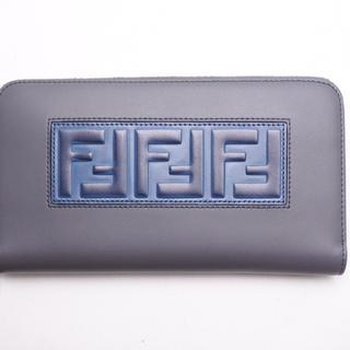 423e7735dd8c フェンディ(FENDI)のフェンディ 長財布 ラウンドファスナー グレー ブルー BOX LOGO 未使用