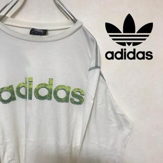 アディダス(adidas)のadidas アディダス Tシャツ ロンT ビッグロゴ グリーン 系(Tシャツ/カットソー(七分/長袖))