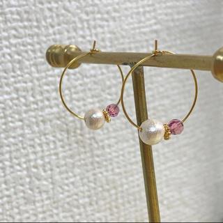 アネモネ(Ane Mone)のほぼ新品 Anemoneアネモネ 18K コットンパール ピンク フープピアス (ピアス)