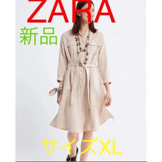 ザラ(ZARA)の新品タグ付きZARAザラポケット付きベルトワンピ★大きいサイズXL(ひざ丈ワンピース)