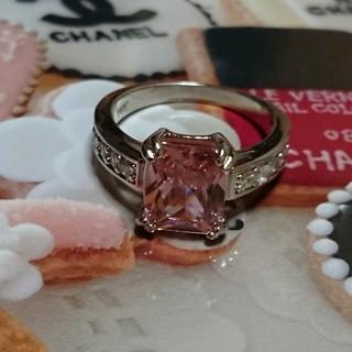 シャネル(CHANEL)の15号 ピンクキュービックダイアモンドホワイトリング(リング(指輪))