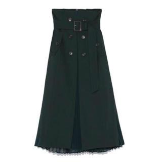 フレイアイディー(FRAY I.D)のフレイアイディー プリーツコンビフレアースカート(ロングスカート)