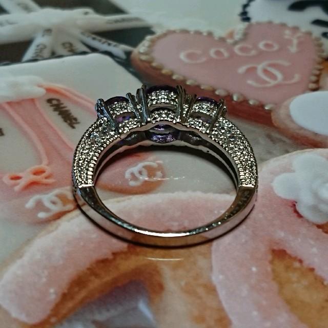 CHANEL(シャネル)の15号 アメジストキュービックダイアモンドホワイトリング レディースのアクセサリー(リング(指輪))の商品写真