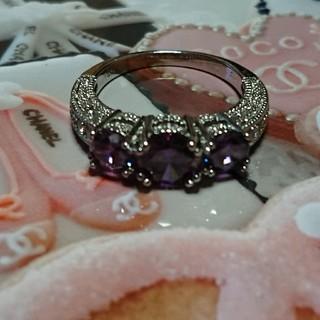 シャネル(CHANEL)の15号 アメジストキュービックダイアモンドホワイトリング(リング(指輪))