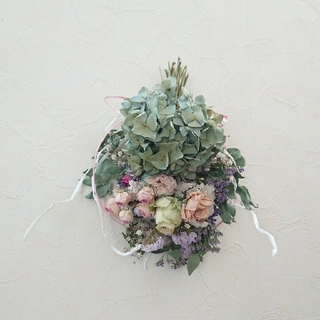 なねまーさん専用グリーン紫陽花、パープルグラデの淡い薔薇のスワッグ(ドライフラワー)