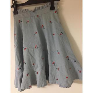 リズリサ(LIZ LISA)のさくらんぼデニムスカート(ひざ丈スカート)