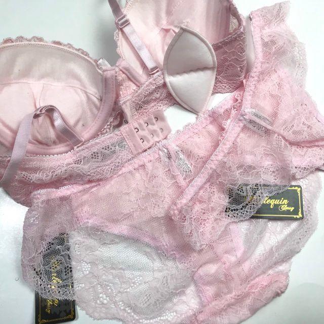 LサイズTバック付き☆E80L♡レース刺繍ピンク♪ブラ&ショーツ 大きいサイズ レディースの下着/アンダーウェア(ブラ&ショーツセット)の商品写真
