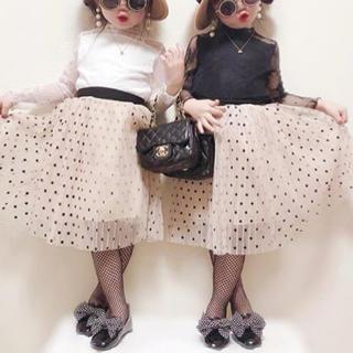 プティマイン(petit main)の子供服 ドット チュールスカート ベージュ💓(スカート)