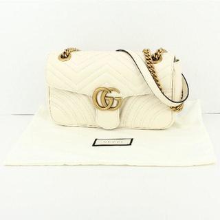 4c0e4487079d グッチ(Gucci)のグッチ スモール チェーンショルダーバッグ GGマーモント ホワイト (ショルダーバッグ