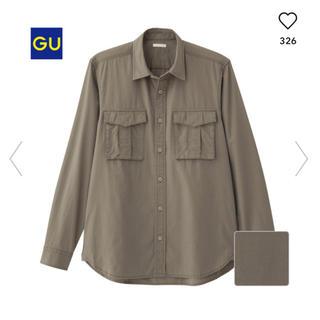 ジーユー(GU)のジーユー メンズ ワークシャツ シャツ ミリタリー カーキ(シャツ)