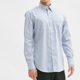 ジーユー(GU)のジーユー メンズ シャツ ブルー ピンオックスフォードシャツ ライトブルー(シャツ)