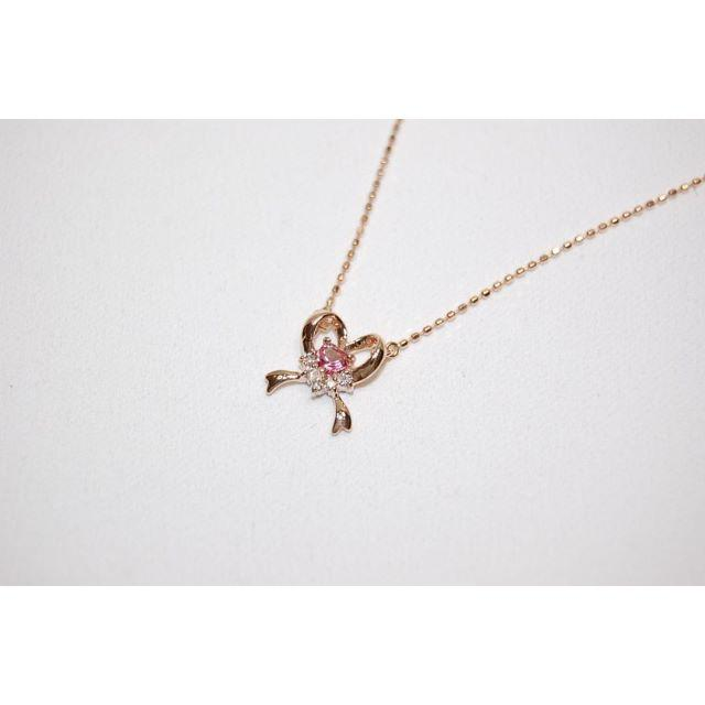 Samantha Tiara(サマンサティアラ)のサマンサティアラ K18 ピンクゴールド リボンモチーフ ネックレス レディースのアクセサリー(ネックレス)の商品写真