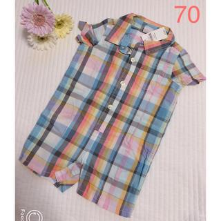 6983427d9e762 ベビーギャップ(babyGAP)の新品♡gap チェックシャツ カバーオール 70(カバーオール)