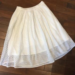 シマムラ(しまむら)の【美品】しまむら スカート 白 Lサイズ(ひざ丈スカート)