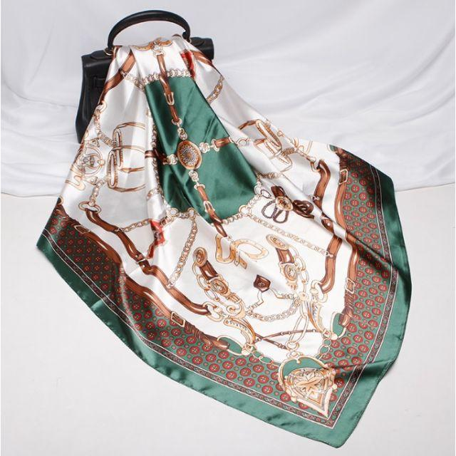 ab8c358e0d4b73 02シルク風 アンティーク調 スカーフお洒落 大判正方形ショールストールシュシュ レディースのファッション小物