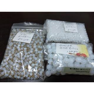 キワセイサクジョ(貴和製作所)のチェコビーズ・ホワイトオパール3点・5000円相当→1300円(各種パーツ)