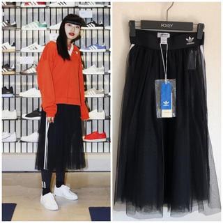 アディダス(adidas)の新品未使用 アディダス チュールスカート M ブラック 黒 シフォンスカート(ロングスカート)