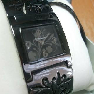 ピエールラニエ(Pierre Lannier)のピエールラニエ/腕時計/花柄/ブラック&グレー/透かし彫り/スクエアウォッチ(腕時計)