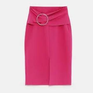 ザラ(ZARA)の美品 ●ZARA●春新作♪バックル付きペンシルスカート XL(ひざ丈スカート)