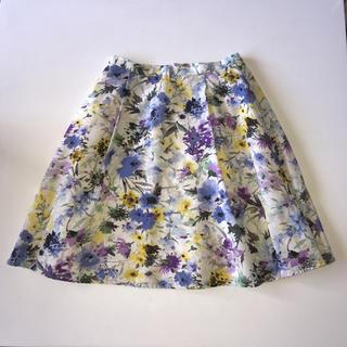 アプワイザーリッシェ(Apuweiser-riche)の膝丈スカート ボタニカル 花柄スカート 黄色 ラベンダー ブルー ホワイト(ひざ丈スカート)