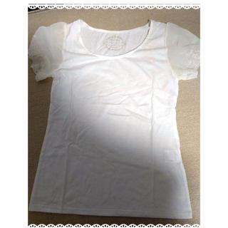 ミスティウーマン(mysty woman)の【新品タグ付き】mysty woman 透け薔薇レース白半袖Tシャツ(Tシャツ(半袖/袖なし))