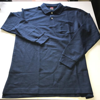 BURTLE - 長袖ポロシャツ 作業服 ワーク用 ネイビー 紺色