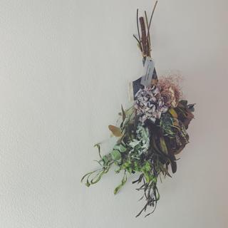 紫陽花とローズ、スモークツリーのシャビースワッグ Nuance purple (ドライフラワー)
