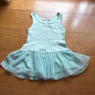 韓国子供服ミントグリーンノースリチュールチュニックトップス☆7サイズ(ワンピース)