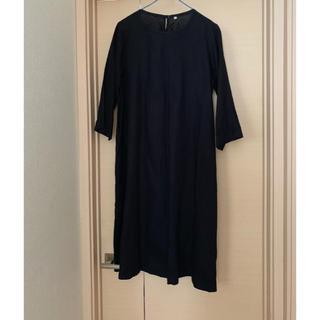 ムジルシリョウヒン(MUJI (無印良品))のフレンチリネン七分袖ワンピース(ひざ丈ワンピース)