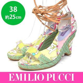 エミリオプッチ(EMILIO PUCCI)の美品❤️エミリオプッチ レースアップ ウェッジソールサンダル 38(約25cm)(サンダル)