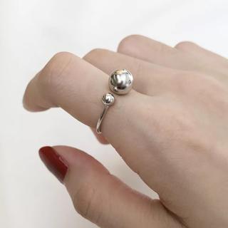 シルバー925 ダブルボールリング 細身 リング シンプルリング(リング(指輪))