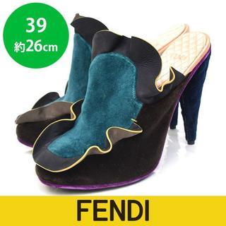 フェンディ(FENDI)の新品❤️フェンディ フリル ベルベット スリッポン サンダル 39(約26㎝)(ハイヒール/パンプス)