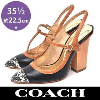 コーチ(COACH)の新品❤️コーチ バックバンド 太ヒール パンプス 35.5(約22.5cm)(ハイヒール/パンプス)