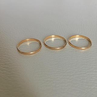 格安 k18 リング  3つ 指輪 レディース 15号(リング(指輪))