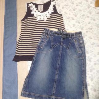 ゴートゥーハリウッド(GO TO HOLLYWOOD)のゴートゥハリウッド  ボーダーレースタンク160,と、B.BLUEデニムスカート(Tシャツ/カットソー)