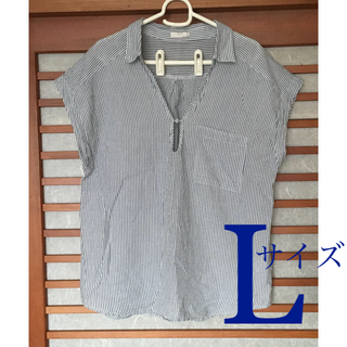 ジーユー(GU)のシャツ ブラウス 縦ストライプ レディース L(シャツ/ブラウス(半袖/袖なし))