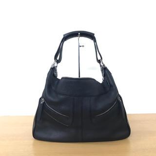 トッズ(TOD'S)の美品 トッズ ショルダーバッグ レザー 黒 ハンドバッグ ◆セリーヌ ロエベ (ショルダーバッグ)
