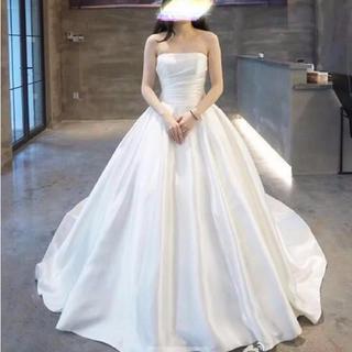 9a771f8f33f70 パックリボンのウェディングドレス、色変更可 ベアトップ(ウェディングドレス)